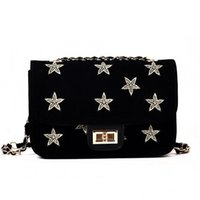 Wholesale Nylon Scrubs - hot Fashion Gold Stars Embroidery Design Flap Shoulder Bag Women Scrub Leather Crossbody Bag With Chain Female