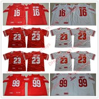 Wholesale Russell Football Jersey - NCAA Wisconsin Badgers #23 Jonathan Taylor #16 Russell Wilson #99 J.J. Watt NEW Red White Stitched Mens College Football Jerseys S-3XL