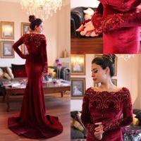 Wholesale Islamic Long Sleeve Dresses - 2015 Arabic Islamic Abaya in Dubai Muslim Evening Dresses Scoop Neck Dark Red Velvet Lace Crystal Beads Long Sleeve Mermaid Party Prom Gowns