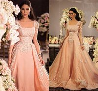 Discount line square neck floor length applique - Elegant Blush Pink Illusion Long Sleeves Prom Dresses A Line Square Neckline Lace Appliqued Floor Length Formal Evening Dresses BA1374