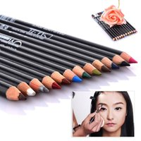 Wholesale Eyeliner Tattoo Pen - 12Pcs Colorful Cosmetics Makeup Pen Eyebrow Eye Liner Lip and Eye Liner Tattoo Makeup Set hot sale waterproof eyeliner pencil
