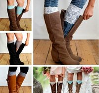 Wholesale Wholesale Lace Trim Boot Sock - New Stretch Lace Boot Cuffs 13 Colors High Quality Women Flower Leg Warmers Lace Trim Toppers Socks