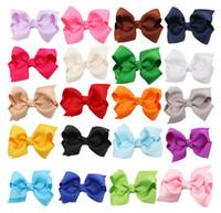 neonhaar verbeugt sich großhandel-20pcs DIY Neon Grosgrain Bows auf Doppelzinken Clips Baby Haarschleife Band Bowknot Haarnadel Haar cilp