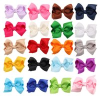 Wholesale Wholesale Double Prong Clips - 20pcs DIY Neon Grosgrain Bows on double prong clips Baby Hair bow ribbon Bowknot hairpin hair cilp