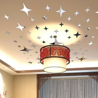 Wholesale Vinyl Ceiling - 50 Pieces Star Shape 3D Acrylic Wall Stickers Living Room Bed Room Ceiling Mirror Wall Sticker Home Decoration q171130
