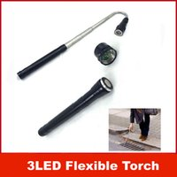Wholesale Diving Flashlight Magnetic - 3LED Portable Flexible Torch Magnetic Pick Up Tool LED Light Flashlight