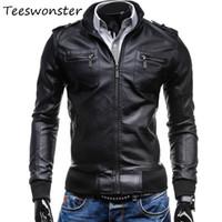 Wholesale Korean Motorcycle Leather Jacket Men - Wholesale- motorcycle jacket Mens Slim Fit Leather Jacket Clothing Free shipping 2017 spring new fashion new Korean mens Slim leather
