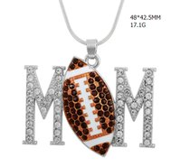 Wholesale Crystal Football Charms - fitness zinc alloy material antique silver plated color crystal mom & multicolor football charm for diy necklace wholesale 50pcs a lot