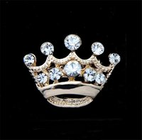Wholesale Crystal Clear Wedding Brooch - Cute Little Crown Brooch Pins Gold & Silver Plated Clear Crystal Rhinestone Brooch Women Party Wedding Fashion Jewelry Perfect Gift DCBJ875