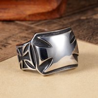 Wholesale Mens Black Cross Ring - Mens 361L Stainless Steel Silver Black Biker Band Iron Cross Ring Size 7-13