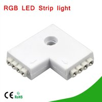 """Cheap led 3528 l connector - 1Pcs No soldering """"L"""" Shape 4Pin 10mm Female Connector For RGB LED Strip 5050 3528 PCB Connectors adapter"""