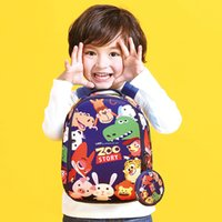 Wholesale School Bags Backpack Zoo - School Bag Cartoon Zoo Story Children Waterproof Backpack Kindergarten Girls Boys Schoolbag Neoprene Kids Animal Pattern School Bag