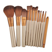 kozmetik tüpler fırça toptan satış-12 adet Makyaj Fırçalar makyaj Fırçalar Araçları Profesyonel Kozmetik Fırça Seti Altın Elyaf Batt Saç Fırçası Altın Tüp Altın Barlar Kalay Ambalaj