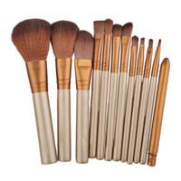 cosméticos, tubos, escova venda por atacado-12 pcs Pincéis de Maquiagem Compõem Ferramentas Escova de Cosmética Profissional Kit de Fibra De Ouro Batt Escova De Cabelo Tubo de Ouro Barras De Ouro Estanho embalagem