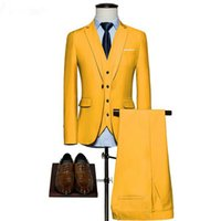 neue frühlingshochzeitskleider großhandel-Maxpa (Jacke + Hose + Weste) brandneue Männer Anzug Hochzeit Anzug für Mann einfarbig Frühling Herbst lässig slim fit männlich Partykleid