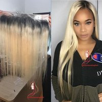 Dark Roots 1B / 613 Blonde diritto serico Lace Frontal 13x 4
