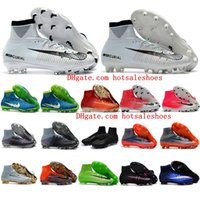 Wholesale Indoor Shoes Boys - 2018 youth cr7 soccer cleats mercurial superfly V DF FG AG Classic kids football boots boys mens soccer shoes cristiano ronaldo neymar Boots