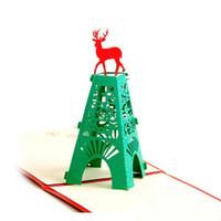 el yapımı origami pop-up kartları toptan satış-Ücretsiz Kargo Yeni Noel 3D Pop Up Kartları Noel Geyik El Yapımı Kirigami Origami Tebrik Kartları sıcak