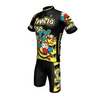 Wholesale kids cute short sleeve bumble bee cycling jersey pant suit boys  breathable outdoor riding wear 5897542e6