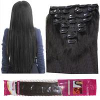 siyah dalgalı klip uzantıları toptan satış-8A 120 g / grup İnsan saç uzantıları klip Brezilyalı düz 8 adet / takım 1B Doğal Siyah dalgalı kıvırcık saç