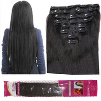Wholesale 1b Wavy Clip Extensions - 8A 120g lot clip in human hair extensions Brazilian straight 8pcs set 1B Natural Black wavy curly hair