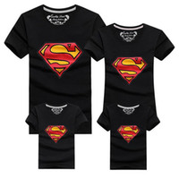 Wholesale Matching Mom Son Outfits - 2016 New Family Look Superman T Shirts 9 Colors Summer Family Matching Clothes Mom & Dad & Son & Daughter Cartoon Outfits, HC315