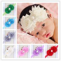 Wholesale Drilled Pearls - Chic Newborn flower Headbands With Pearl Drill Kids Elastic Headband Hair Accessories Handmade Infant Flower Pearl Hairbands Girl Headwear