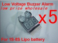 Wholesale Speaker Helicopter - F00872-5, 1S-8S Dual Speaker 2 IN 1 LiPo Battery Voltage Checker Indicator Tester LED & low voltage buzzer alarm combo +freeship