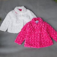Wholesale Polyester Jacket Coat - Retail baby girls Woolen coat outwear 2015 winter kids girl clothes Polyester toddler jackets children's clothing Rose Red White 201507HX