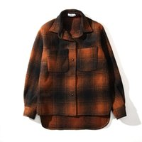 ingrosso uomini in giacca di inverno plaid-2018 New winter hip hop unisex uomo oversize plaid vintage spessa tasca giacca di lana Tweed cappotto in cotone M-XL