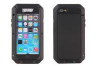 cajas del teléfono celular a prueba de golpes al por mayor-De lujo a prueba de golpes a prueba de agua de gran alcance de protección de aluminio cubierta de metal de cristal gorila cajas del teléfono celular para iphone x 4 5 6 6 s 7 8 plus
