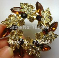 Wholesale Gold Plated Brown Rhinestone Crystal Wreath Flower Bridal Pin Brooch