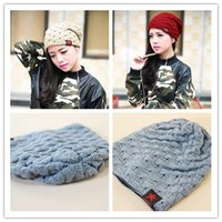 Wholesale Korean Style Beanies - New Style Reversible Woolen Knitted Hat Fashion Unisex Winter Beanies Hats Korean Warm Cap 10pcs wholesale Free shipping