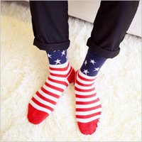 Wholesale Cheap Usa Socks - Hot sales cheap socks for men wool socks Casual Crew Ankle USA national flag Stripes Socks England national flag stripes socks LA27-4