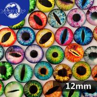 12mm glasaugen großhandel-Wholesale-12mm Multicolor Drachen Augen Muster Runde Form Glaskuppel Cabochon Flache Rückseite Fit Cameo Einstellungen Schmuck Verschönerung 50 teile / los