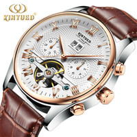 Wholesale led watches for sale - Kinyued skeleton automatic watch men waterproof leading brand men s business watch leather calendar rose gold Relogio Masculino