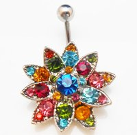 Wholesale Gem Belly Bar - 2015 Rhinstones Lotus Gem Flower Body Crystal Navel Belly Button Rings Bar Piercing Jewelry(5PCS LOT)