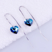 Wholesale Svarovski Earrings - fashion 925 sterling silver zirconia earrings for women Beautiful hoop svarovski channel crystal sea heart earrings for women