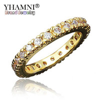 elmas 24k gold toptan satış-YHAMNI Marka En Kaliteli kızın Gerçek Beyaz Gold24K Altın Dolgulu Kuyruk Yüzük Tam CZ Elmas Alyans Kadınlar Için R530
