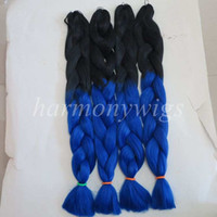 Wholesale dark blue hair color - Kanekalon Jumbo Braid Hair 82inch 165g Black&Dark Blue Ombre three tone color xpression braiding box Synthetic hair extensions