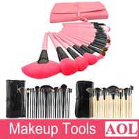 Wholesale Makeup Cases Price - Factory price! Professional 24pcs Makeup Brush Sets Make-up Tools Soft Goat Hair Brand Black Pink Makeup Brushes Kit with Pouch Bag Case