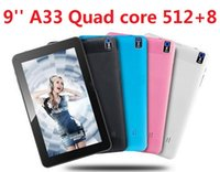 Wholesale Dhl Inch Tablet - A33 Quad Core Tablet 9 inch Allwinner A33 Tablet 8GB With Dual Camera WiFi OTG Bluetooth flashlight back camera DHL Free