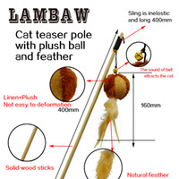 Wholesale Halloween Pole - cat teaser Lambaw pet suppliers wooden pole stick sisal toys ring ball natural feather long flexible string