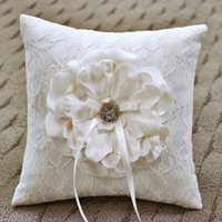 Wholesale Lace Ribbon Ring Pillow - Bride Bridegroom Rings Pillow With Flower Crystals Ribbon Lace Pillow Ring Holder Wedding Favors wjp005