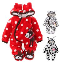 Wholesale Newborn Wadded Jacket Baby - Wholesale-Coral fleece newborn baby winter rompers for girl boy baby bodysuits cotton wadded baby winter jacket baby winter clothes TZ31