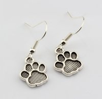 Wholesale 12 Mm Earrings Wholesale - Hot ! 15 pair Antique silver Paw Print Charms Earrings With Fish hook Ear Wire 12 X 32 mm