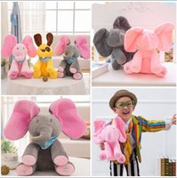 Wholesale Singing Plush Toys Wholesale - Peek-a-Boo Singing Elephant 30cm Stuffed Baby Toy Plush Animal Play Music Dog Kids Electric Stuffed Toys 36pcs OOA3360