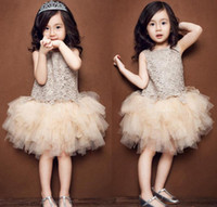 Wholesale Korean Baby Vest - Girl Tutu Dress Girls Lace Princess Dresses Baby Kids Clothes Floral Hollow Sleeveless Dress Summer Korean Style Vest Dressy Champagne
