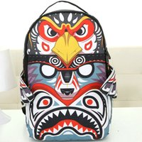 Wholesale Owl Bag Zipper - Owl spray ground backpack Angel wings design bag Canvas daypack Cool style street rucksack Sprayground brand daypack