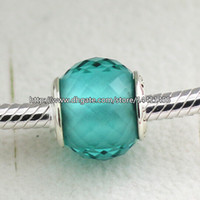 Wholesale Flowers Facets - 925 Sterling Silver Petite Facets Charm Bead with Green Quartz Fits European Pandora Jewelry Bracelets Necklaces & Pendants